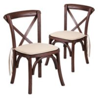 Flash Furniture Kids Cross Back Dining Chairs in Mahogany with Cushions (Set of 2)