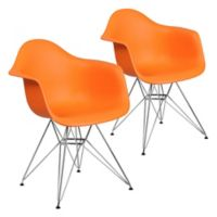 Flash Furniture Alonza Chairs with Chrome Bases in Orange (Set of 2)