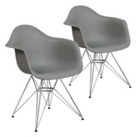 Flash Furniture Alonza Chairs with Chrome Bases in Grey (Set of 2)