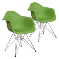 Flash Furniture Alonza Chairs with Chrome Bases in Green (Set of 2)