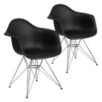 Flash Furniture Alonza Chairs with Chrome Bases in Black (Set of 2)