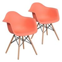 Flash Furniture Alonza Chairs with Wood Bases in Peach (Set of 2)