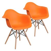 Flash Furniture Alonza Chairs with Wood Bases in Orange (Set of 2)