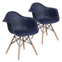 Flash Furniture Alonza Chairs with Wood Bases in Navy (Set of 2)