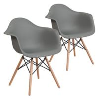 Flash Furniture Alonza Chairs with Wood Bases in Grey (Set of 2)