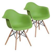 Flash Furniture Alonza Chairs with Wood Bases in Green (Set of 2)