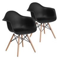 Flash Furniture Alonza Chairs with Wood Bases in Black (Set of 2)