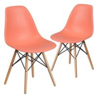 Flash Furniture Elon Chairs with Wood Bases in Peach (Set of 2)