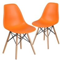 Flash Furniture Elon Chairs with Wood Bases in Orange (Set of 2)