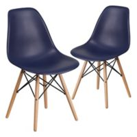 Flash Furniture Elon Chairs with Wood Bases in Navy (Set of 2)