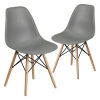 Flash Furniture Elon Chairs with Wood Bases in Grey (Set of 2)