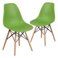 Flash Furniture Elon Chairs with Wood Bases in Green (Set of 2)