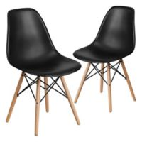 Flash Furniture Elon Chairs with Wood Bases in Black (Set of 2)