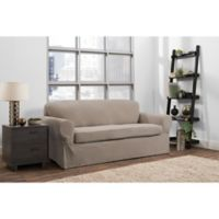 Smart Fit Portland 2-Piece Stretch Sofa Slipcover in Taupe