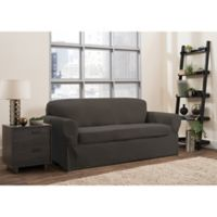 Smart Fit Portland 2-Piece Stretch Sofa Slipcover in Brown