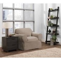 Smart Fit Portland 1-Piece Stretch Chair Slipcover in Taupe