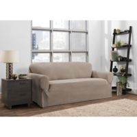 Smart Fit Portland 1-Piece Stretch Sofa Slipcover in Taupe