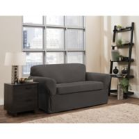 Smart Fit Portland 2-Piece Stretch Loveseat Slipcover in Charcoal