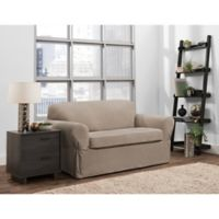 Smart Fit Portland 2-Piece Stretch Loveseat Slipcover in Taupe