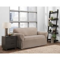 Smart Fit Portland 1-Piece Stretch Loveseat Slipcover in Taupe