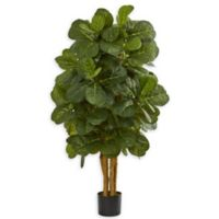 Nearly Natural 4-Foot Artifical Fiddle Leaf Fig Tree in Black Pot