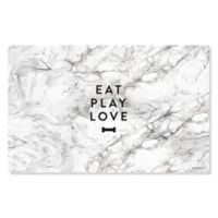 "Fringe Studio™ ""Eat Play Love"" Pet Mat in Grey Marble"