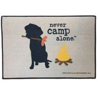 """Never Camp Alone"" 17"" x 27"" Indoor/Outdoor Door Mat in Tan"