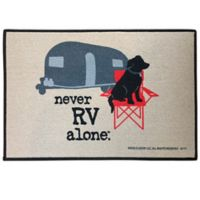 """Never RV Alone"" 17"" x 27"" Indoor/Outdoor Door Mat in Tan"