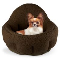 Precious Tails Large Sherpa Deep Dish Cuddler Pet Bed in Brown