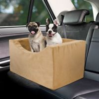 Double Wide High Density Foam Pet Booster Car Seat in Tan