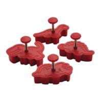 CakeBoss™ Decorating 4-Piece Dinosaur Fondant Press Set in Red