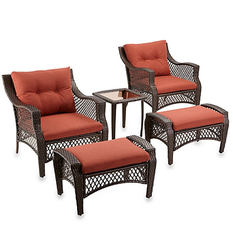 5 Piece Deep Seat Wicker Lounge Set With Cinnamon Cushions