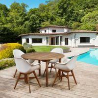 Amazonia Charlotte 5-Piece Round Outdoor Dining Set in Medium Brown/White