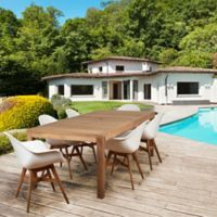 Amazonia Charlotte 7-Piece Rectangle Outdoor Dining Set in Light Brown/White