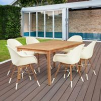 Amazonia Charlotte 7-Piece Outdoor Dining Set in Brown/White