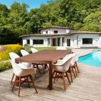 Amazonia Charlotte 9-Piece Outdoor Dining Set in Dark Brown/White