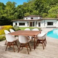 Amazonia Charlotte 9-Piece Square Outdoor Dining Set in Medium Brown/White