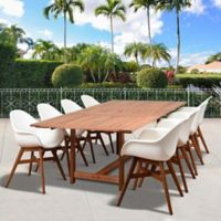 Amazonia Charlotte 9-Piece Extendable Outdoor Dining Set in Dark Brown/White