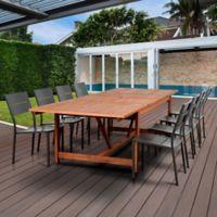 Atlantic Koningsdam 9-Piece Extendable Outdoor Dining Set in Brown/Grey