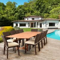 Amazonia Damian 11-Piece Extendable Outdoor Dining Set with Cushions in Natural/Off-White