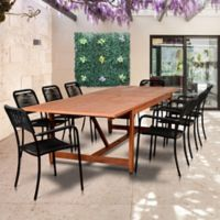 Amazonia Oosterdam 9-Piece Double-Extendable Outdoor Dining Set in Golden Brown/Black