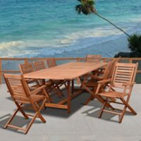 Amazonia Brandon 9-Piece Extendable Outdoor Dining Set in Brown