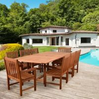 Amazonia Bristol 9-Piece Extendable Outdoor Dining Set in Brown