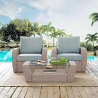 Crosley St. Augustine 3-Piece Resin Wicker Conversation Set with Mist Cushions