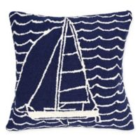 Liora Manne Frontporch Sails Square Indoor/Outdoor Throw Pillow in Navy