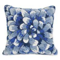 Liora Manne Frontporch Mum Square Indoor/Outdoor Throw Pillow in Blue