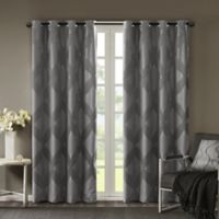 SunSmart Bentley Ogee 108-Inch Knitted Jacquard Grommet Top Blackout Window Curtain in Charcoal