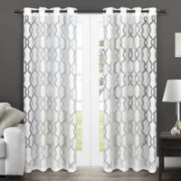 Rio 84-Inch Sheer Grommet Top Window Curtain Panel Pair in White
