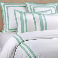 Wamsutta® Hotel Border MICRO COTTON® Full/Queen Duvet Cover Set in White/Seaglass