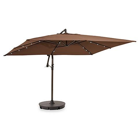 13 6 Solar Lighted Rectangular Cantilever Umbrella
